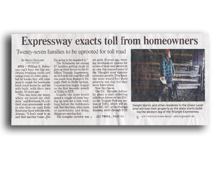 Expressway exatcs toll from homeowners headline