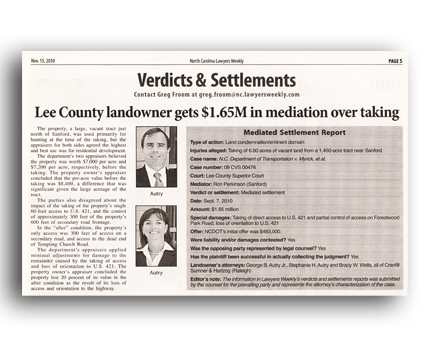 Lee County Landowner Gets $1.6SM in Mediation Over Taking - North Carolina Land Condemnation and Eminent Domain Lawyer