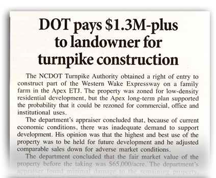 DOT Pays $1.3M-plus to Landowner for Turnpike Construction - North Carolina Land Condemnation and Eminent Domain Lawyer