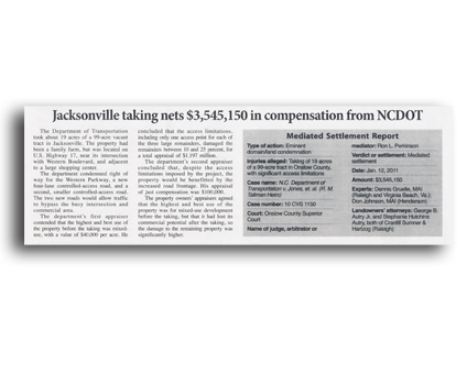 Jacksonville Taking Nets $3,545,150 in Compensation from NCDOT - North Carolina Land Condemnation and Eminent Domain Lawyer
