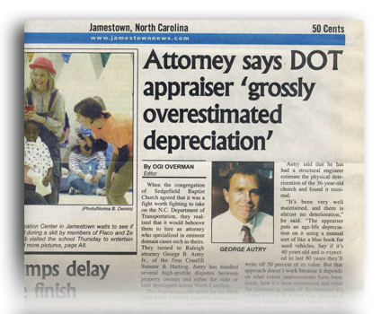 "Attorney Says DOT Appraiser ""Grossly Overestimated Depreciation"" - North Carolina Land Condemnation and Eminent Domain Lawyer"