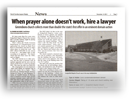 When Prayer Alone Doesn't Work, Hire a Lawyer - North Carolina Land Condemnation and Eminent Domain Lawyer