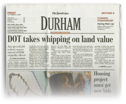 DOT headline - North Carolina Land Condemnation and Eminent Domain Lawyer